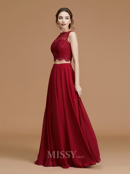 A-Line/Princess Chiffon Sleeveless Bateau Lace Floor-Length Bridesmaid Dress