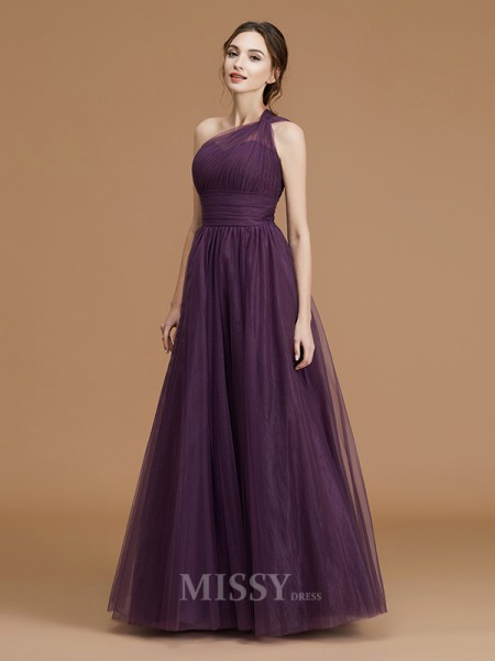 A-Line/Princess Tulle Sleeveless One-Shoulder Ruched Floor-Length Bridesmaid Dress