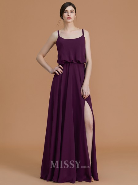 A-Line/Princess Sleeveless Spaghetti Straps Floor-Length Ruffles Chiffon Bridesmaid Dresses