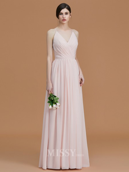 A-Line/Princess Chiffon Sleeveless Spaghetti Straps Ruched Floor-Length Bridesmaid Dress