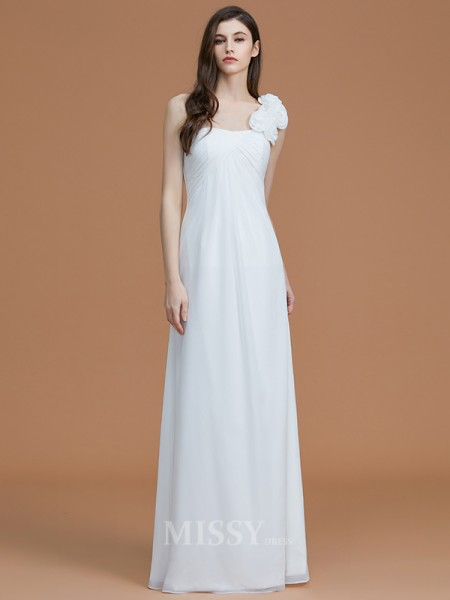 A-Line/Princess Chiffon Sleeveless One-Shoulder Hand-Made Flower Floor-Length Bridesmaid Dress