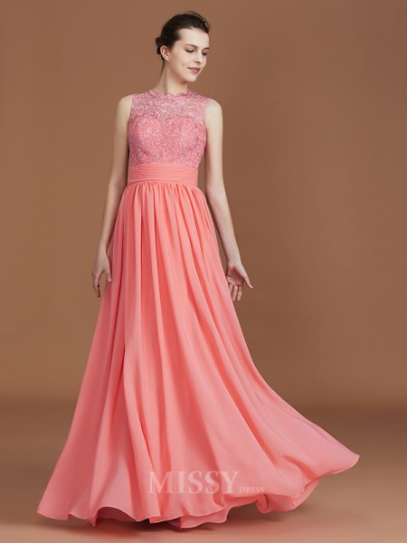 A-Line/Princess Chiffon Sleeveless Jewel Lace Floor-Length Bridesmaid Dress