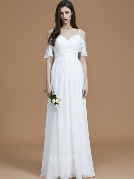 A-Line/Princess Chiffon Sleeveless Spaghetti Straps Ruffles Floor-Length Bridesmaid Dress