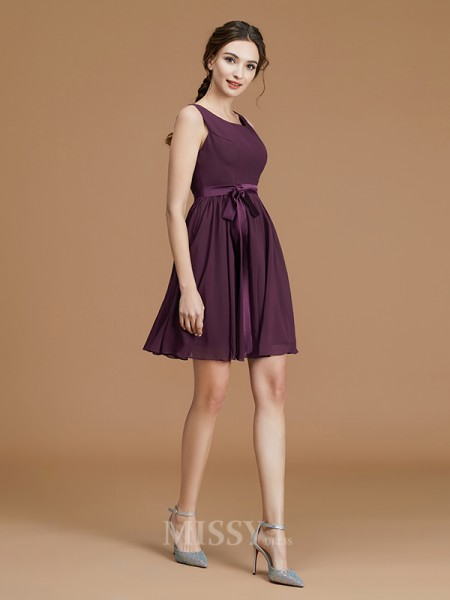 A-Line/Princess Chiffon Sleeveless Bateau Sash/Ribbon/Belt Short/Mini Bridesmaid Dress