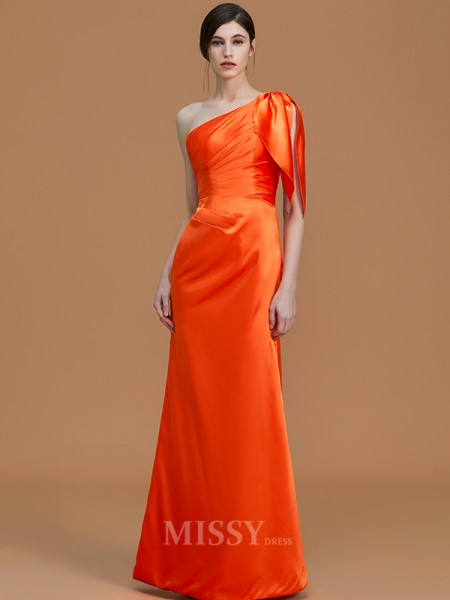 Trumpet/Mermaid Sleeveless Floor-Length One-Shoulder Ruched Satin Bridesmaid Dresses