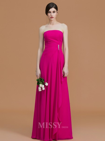 A-Line/Princess Strapless Floor-Length Ruffles Sleeveless Chiffon Bridesmaid Dresses