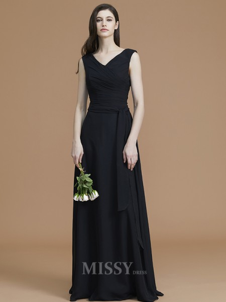 A-Line/Princess Chiffon Sleeveless V-neck Sash/Ribbon/Belt Floor-Length Bridesmaid Dress