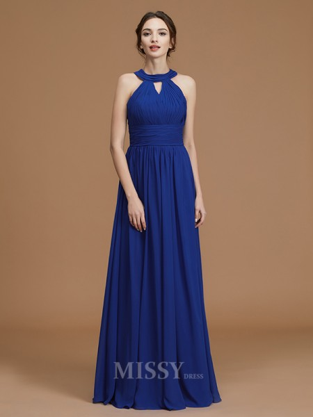 A-Line/Princess Chiffon Sleeveless Halter Ruched Floor-Length Bridesmaid Dress