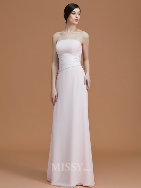 A-Line/Princess Chiffon Sleeveless Strapless Ruched Floor-Length Bridesmaid Dress