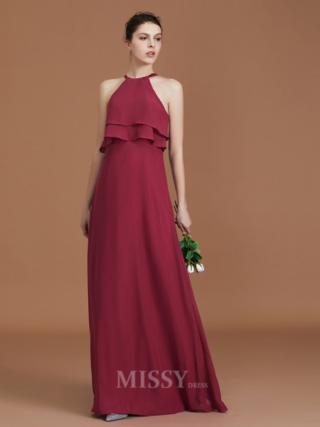 A-Line/Princess Chiffon Sleeveless Scoop Ruffles Floor-Length Bridesmaid Dress