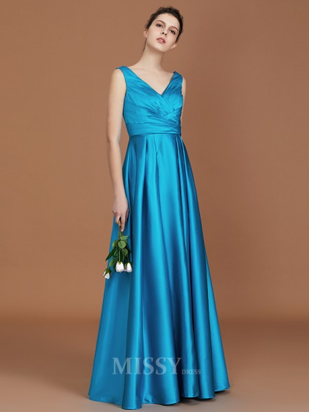 A-Line/Princess Satin Sleeveless V-neck Ruffles Floor-Length Bridesmaid Dress
