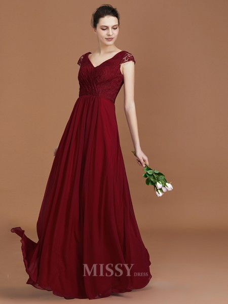 A-Line/Princess Chiffon Short Sleeves V-neck Lace Floor-Length Bridesmaid Dress