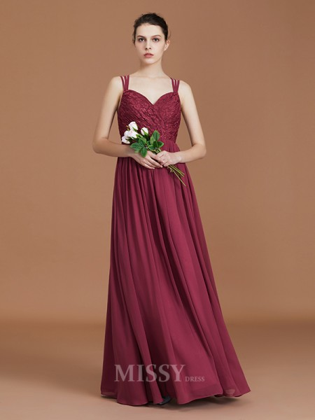 A-Line/Princess Chiffon Sleeveless Sweetheart Lace Floor-Length Bridesmaid Dress