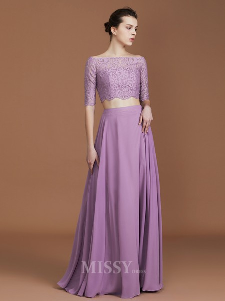A-Line/Princess Chiffon 1/2 Sleeves Off-the-Shoulder Lace Floor-Length Bridesmaid Dress