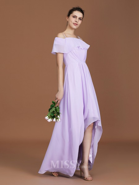 A-Line/Princess Chiffon Short Sleeves Off-the-Shoulder Ruched Floor-Length Bridesmaid Dress