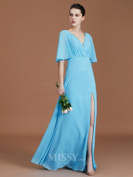 A-Line/Princess Chiffon Short Sleeves V-neck Ruched Floor-Length Bridesmaid Dress