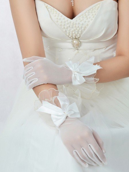 Tulle Bowknot Wedding Gloves