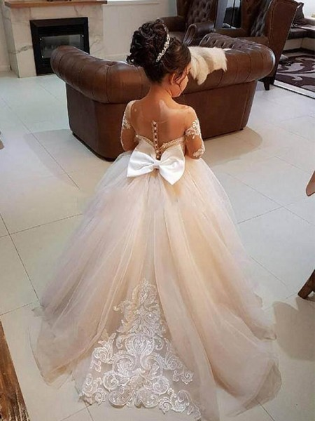 Ball Gown Applique Sweep/Brush Train Long Sleeves Off-the-Shoulder Tulle Flower Girl Dress