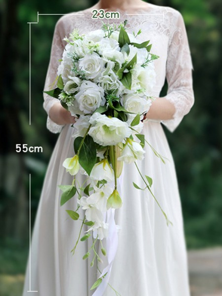 White Cascading Bridal Bouquets Rose Orchid Silk Flower