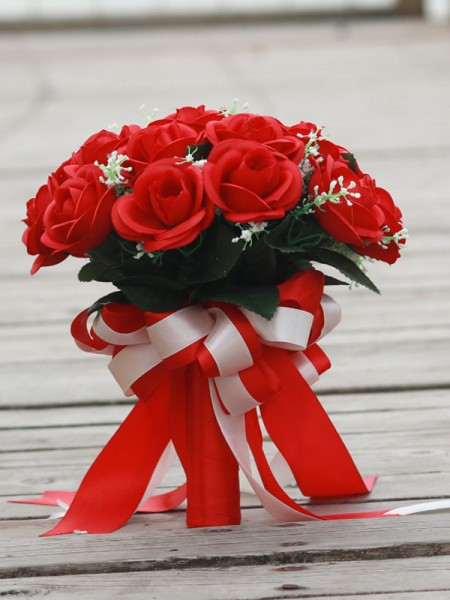 Blooming Round Silk Flower Red Rose Bridal Bouquets