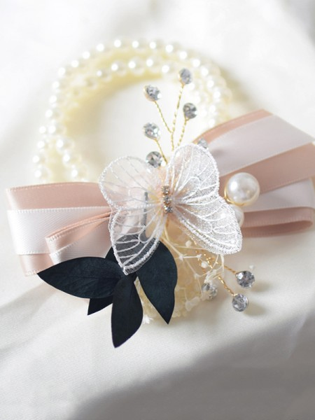 Fancy Imitation Pearl Wrist Corsage Wedding Supplies