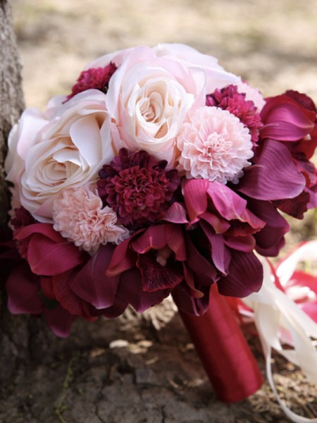 Round Silk Flower Charming Bridal Bouquets