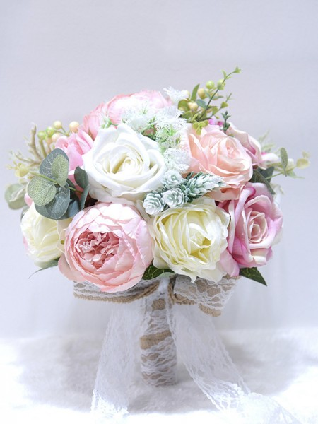 Round Silk Flower Attractive Bridal Bouquets