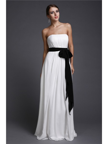 Sheath/Column Sash/Ribbon/Belt Strapless Floor-Length Sleeveless Chiffon Bridesmaid Dresses