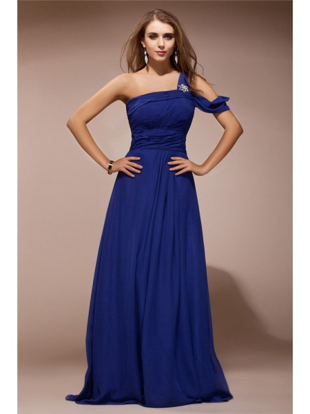 Sheath/Column Ruffles Rhinestone One-Shoulder Floor-Length Sleeveless Chiffon Dresses