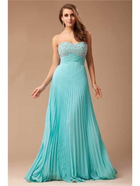 Empire Ruffles Beading Sweetheart Floor-Length Sleeveless Chiffon Dresses