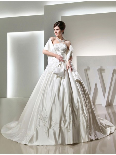 Ball Gown Beading Embroidery Strapless Chapel Train Sleeveless Satin Wedding Dresses