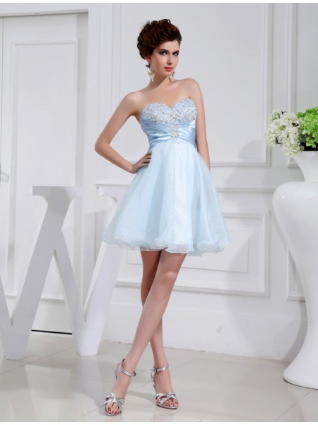 A-Line/Princess Beading Applique Sweetheart Short/Mini Sleeveless Elastic Woven Satin Organza Bridesmaid Dresses