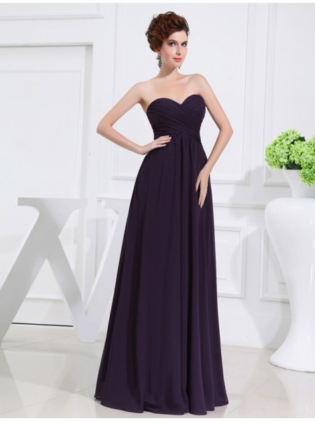 A-Line/Princess Pleats Sweetheart Floor-Length Sleeveless Chiffon Bridesmaid Dresses