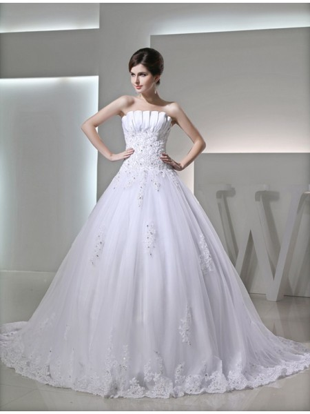 Ball Gown Beading Applique Strapless Chapel Train Sleeveless Satin Wedding Dresses