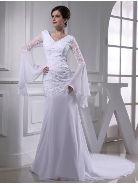 Trumpet/Mermaid Beading Embroidery V-neck Chapel Train Long Sleeves Chiffon Wedding Dresses