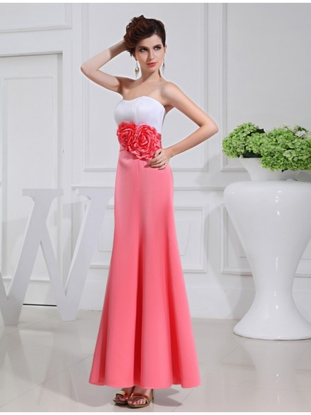 A-Line/Princess Pleats Hand-Made Flower Strapless Ankle-Length Sleeveless Satin Bridesmaid Dresses