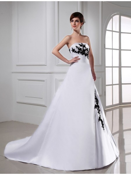 A-Line/Princess Beading Applique Strapless Chapel Train Sleeveless Satin Wedding Dresses