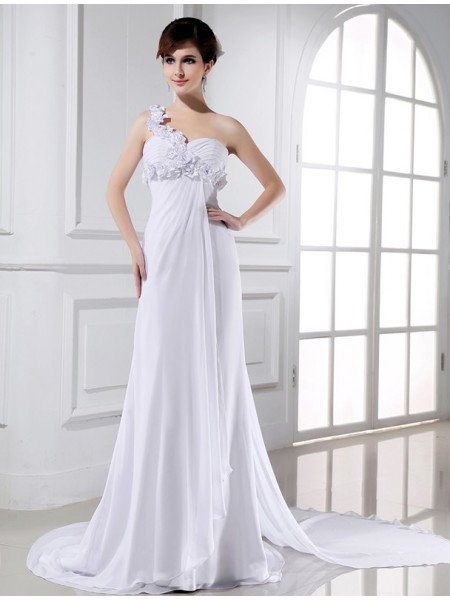 A-Line/Princess Hand-Made Flower Beading One-Shoulder Court Train Sleeveless Chiffon Wedding Dresses