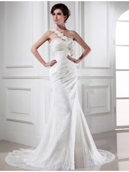 Trumpet/Mermaid Hand-Made Flower Beading One-Shoulder Chapel Train Sleeveless Satin Lace Wedding Dresses