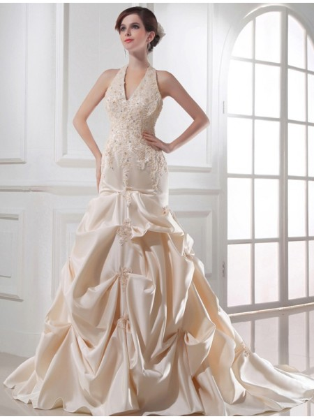 Trumpet/Mermaid Applique Halter Chapel Train Sleeveless Satin Wedding Dresses