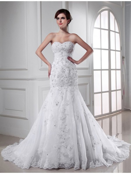 Trumpet/Mermaid Beading Applique Sweetheart Chapel Train Sleeveless Organza Wedding Dresses