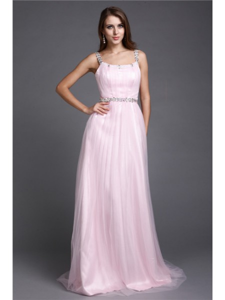 A-Line/Princess Rhinestone Spaghetti Straps Floor-Length Sleeveless Net Dresses