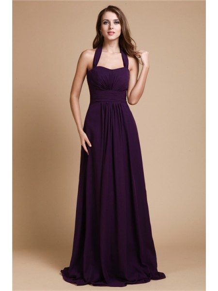 A-Line/Princess Ruffles Halter Floor-Length Sleeveless Chiffon Bridesmaid Dresses