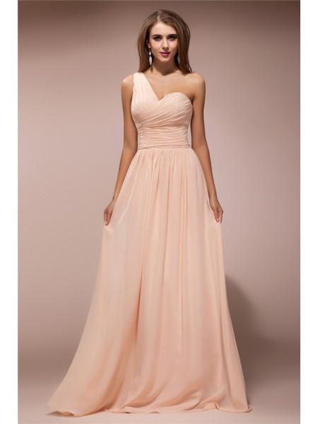 Sheath/Column Ruffles One-Shoulder Floor-Length Sleeveless Chiffon Dresses
