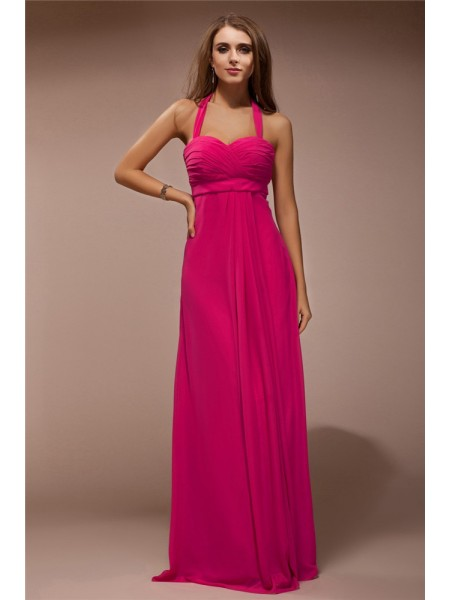 Sheath/Column Ruffles Halter Floor-Length Sleeveless Chiffon Bridesmaid Dresses