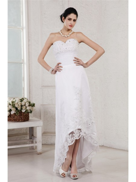 Sheath/Column Beading Applique Sweetheart Asymmetrical Sleeveless Organza Wedding Dresses