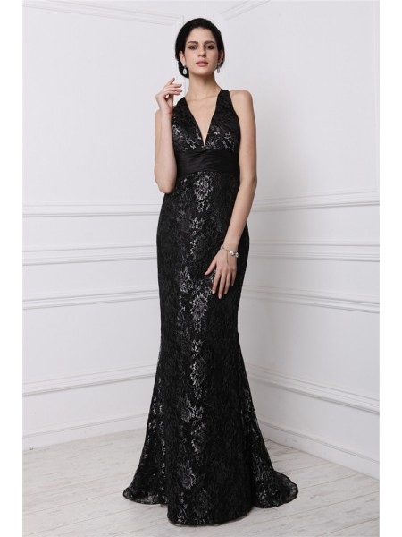 Sheath/Column Lace V-neck Sweep/Brush Train Sleeveless Lace Dresses