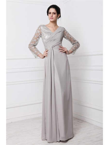 Sheath/Column Lace V-neck Floor-Length Long Sleeves Chiffon Dresses
