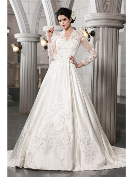 A-Line/Princess Beading Applique V-neck Chapel Train Long Sleeves Satin Wedding Dresses