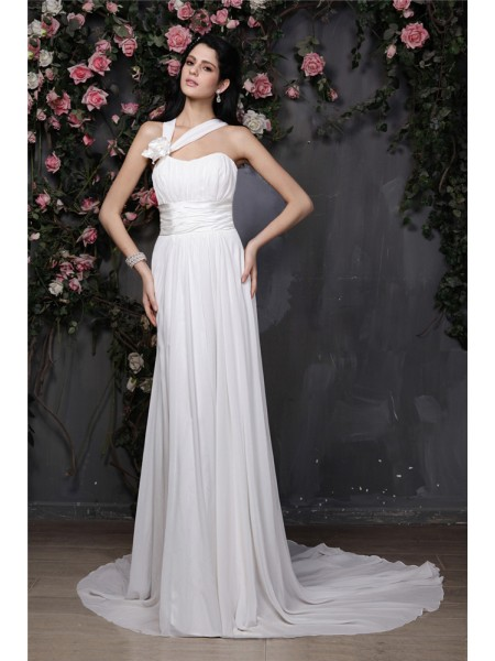 Sheath/Column Pleats Hand-Made Flower Halter Chapel Train Sleeveless Chiffon Wedding Dresses